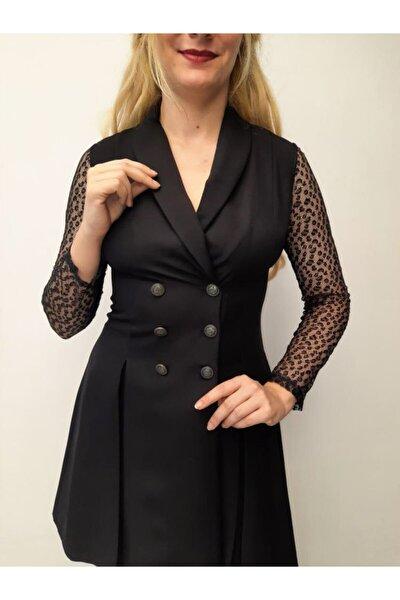 Kadın Siyah Ceket Yaka Elbise