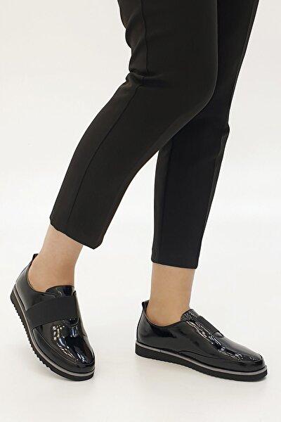 Siyah Rugan Kadın Burlas Hakiki Deri Comfort Ayakkabı 19K0014TP8009-1