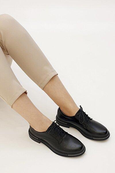 Siyah Kadın Adef Günlük Oxford Ayakkabı 19K0034MC82