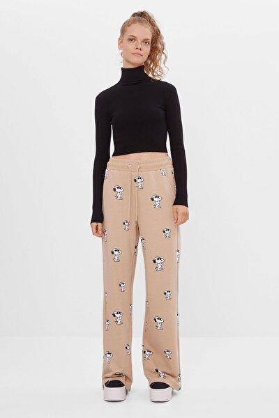 Kadın Kahverengi Geniş Paça Pantolon
