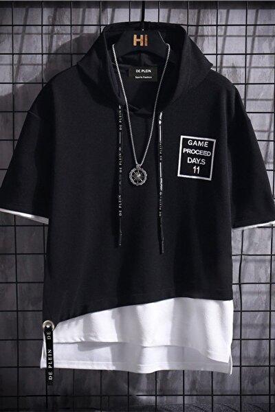 Unisex Siyah Oversize Kapüşonlu % 100 Pamuk T-shirt