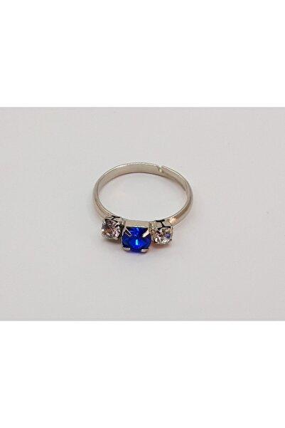 Trendyıldızı Parlament Mavisi Üç Taşlı Kız Çocuk Yüzüğü