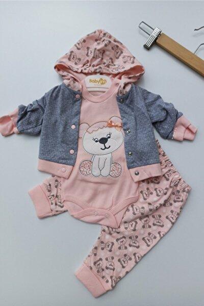 Kız Bebek Pembe Fiyonklu Ayıcık Kapüşonlu 3lü Takım