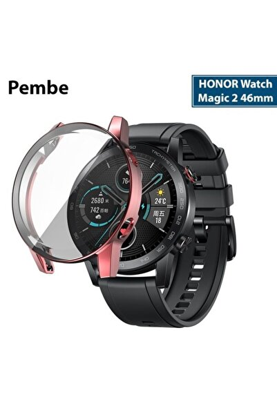 Watch Magic 2 46mm 360 Koruma Ultra Ince Silikon Kılıf - Pembe