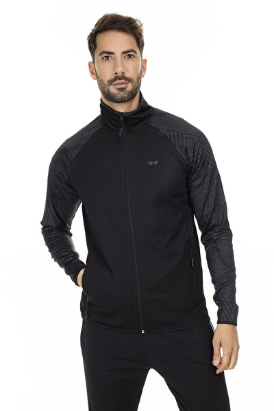 Erkek SİYAH Cep Detaylı Dik Yaka Fermuarlı Slim Fit Sweatshirt 5658002S