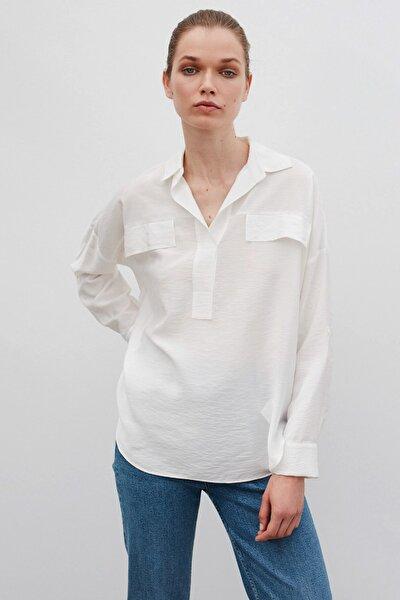 Kadın Ekru Fırfır Şeritli Gömlek