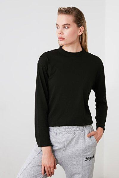 Siyah Uzun Kollu Dik Yaka Örme T-shirt TWOAW20TS0233
