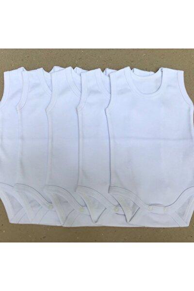 Bebek Beyaz Çıtçıtlı Badi Askılı 5'li Paket