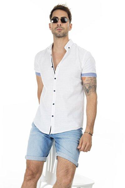 Erkek BEYAZ Düğmeli Yaka Kısa Kollu Pamuklu Gömlek CF20S112546
