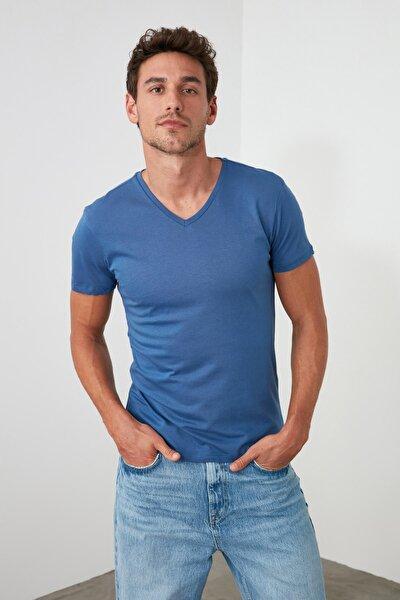 Indigo Erkek Basic Slim Fit T-Shirt - Pamuklu V Yaka TMNSS19BO0002