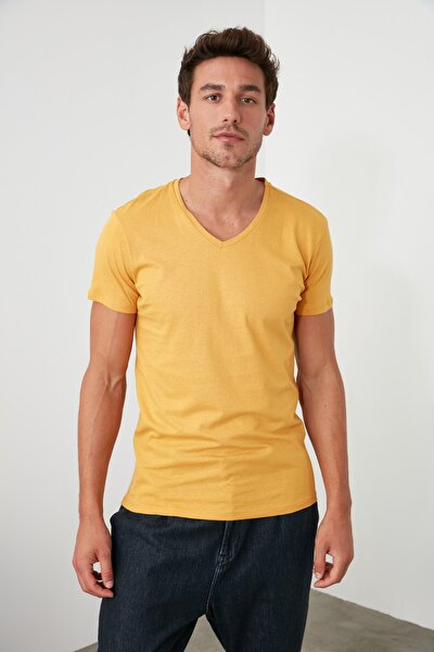 Hardal Erkek Basic Slim Fit T-Shirt - Pamuklu V Yaka TMNSS19BO0002