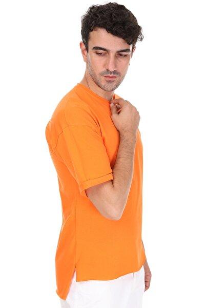 Unisex Turuncu Yırtmaçlı Oversize T-Shirt