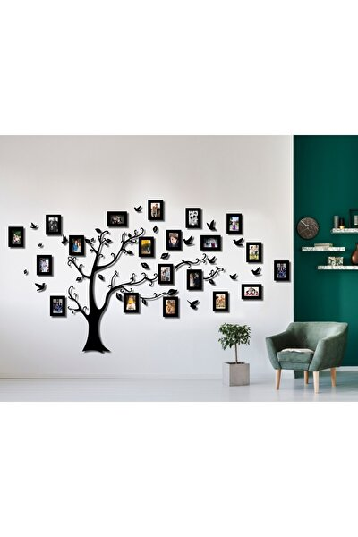 Ahşap Soy Ağacı 20 Çerçeveli - Siyah
