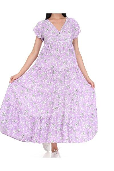 Kadın Lila Düğme Detaylı Viskon Kumaş Elbise Kod10000223