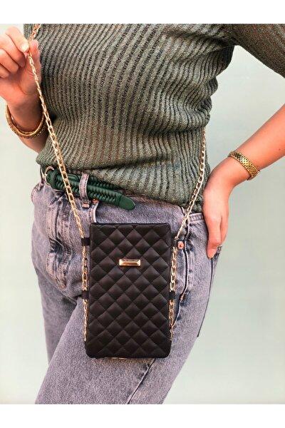 Kadın Siyah Zincirli Telefon Çantası