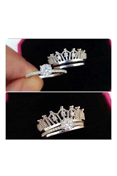 Zirkon Taşlı Prenses Tacı Ikili Yüzük 925 Ayar Gümüş