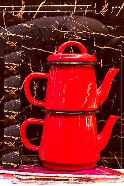 Emaye Çaydanlık Takımı Kırmızı