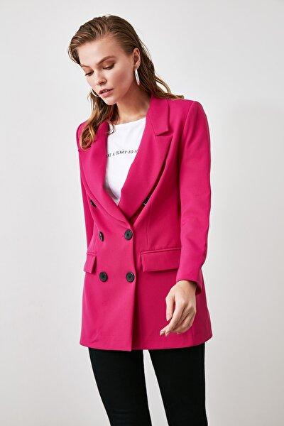 Fuşya Düğmeli Blazer Ceket TWOAW20CE0130