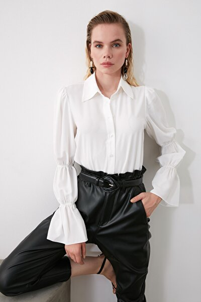 Beyaz Kol Detaylı Gömlek TWOAW20GO0428