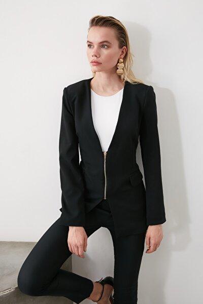 Siyah Fermuarlı Blazer Ceket TWOSS20CE0009