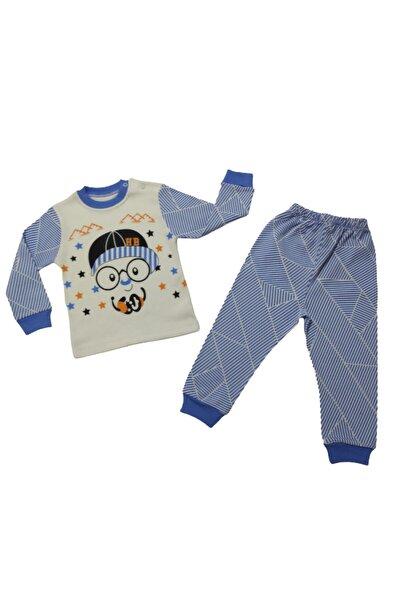 Erkek Çocuk Mavi Şapkalı Baskılı İkili Penye Pijama Takımı