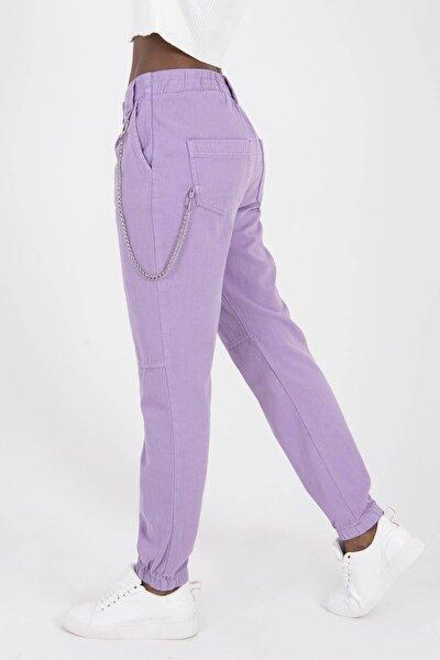 Kadın Lila Zincir Detaylı Pantolon PN3974 -  PNİ ADX-0000022928