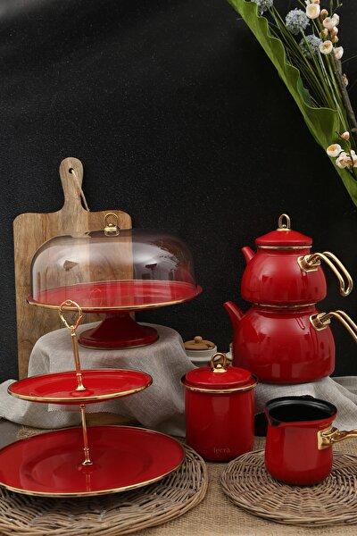 10 Parça Kırmızı Çay Seti