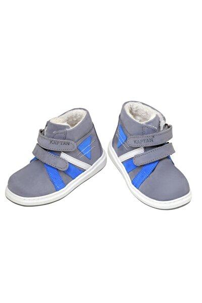 Erkek Bebek Gri Hakiki Deri Ortopedik Ayakkabı