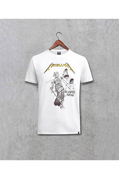 Unisex Beyaz Metallica And Justice For All Albüm Baskılı T-shirt