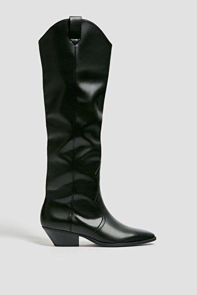 Kadın Siyah Diz Altı Kovboy Çizme 11046640