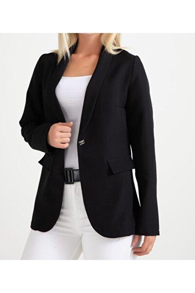 Kadın Siyah Sahte Düğmeli Blazer Ceket