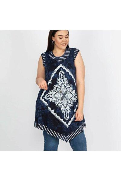 Kadın Mavi Desenli Batik Tunik