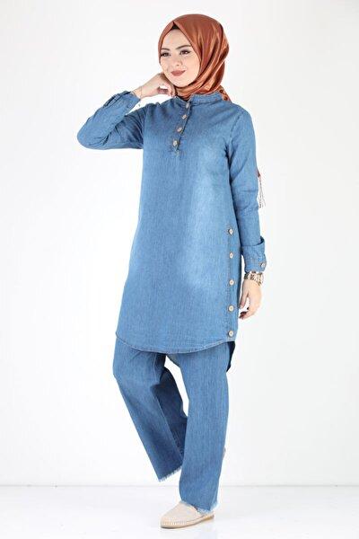 Düğmeli Kot Tunik Pantolon Takımı Tsd1041k Buz Mavisi