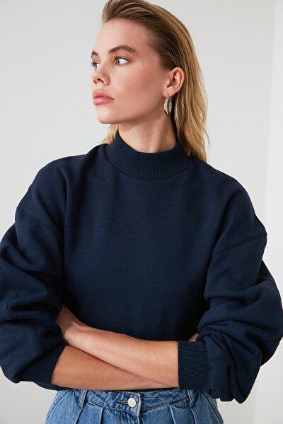 Lacivert Dik Yaka Örme Sweatshirt TWOAW20SW0584