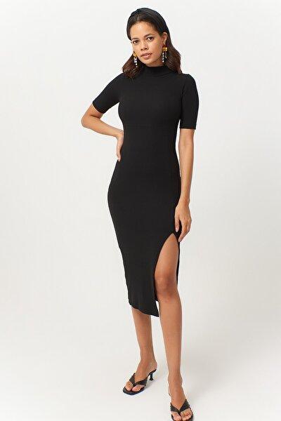 Kadın Siyah Yırtmaçlı Kaşkorse Elbise EY1020