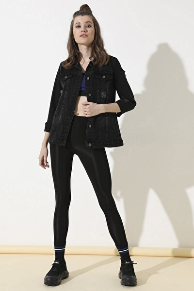 Kadın Siyah Arkası Baskılı Kot Ceket