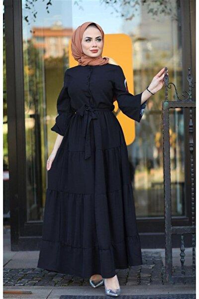 Kol Nakış Detaylı Elbise Siyah 1590