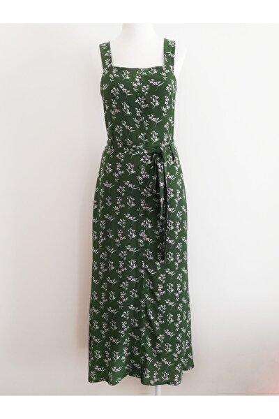Kadın Yeşil Çiçekli Askılı Midi Elbise