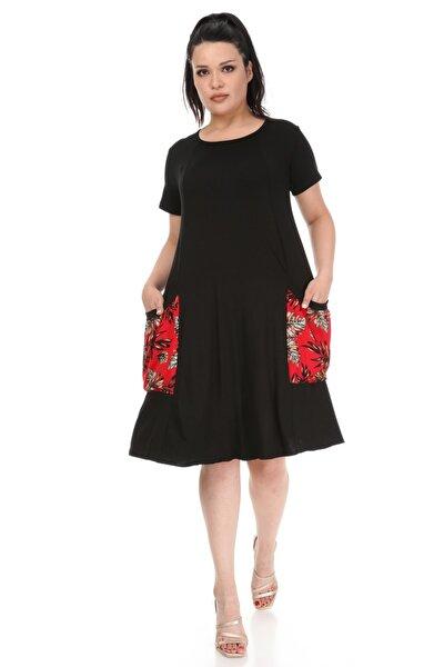 Kadın Siyah Kırmızı Yaprak Cep Detaylı Salaş Elbise