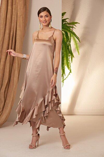 Kadın Tas Saten Uçları Fırfırlı Elbise
