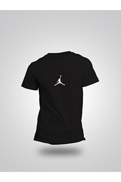 Erkek Siyah Nba Jordan Mini Logo Pamuklu  T-Shirt