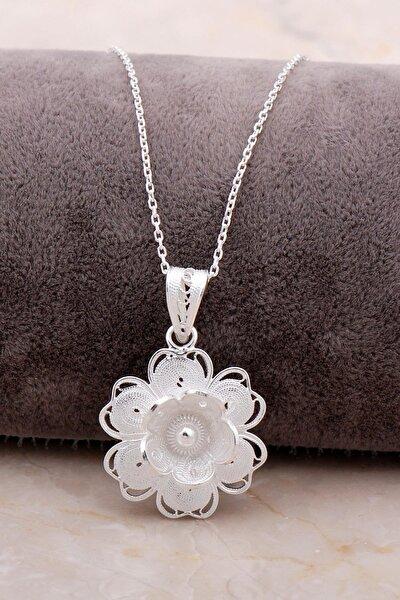 Telkari Işlemeli Çiçekli Gümüş Kolye 6874