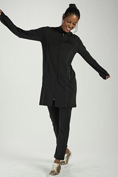 Kadın Siyah Antrasit Tunik Takım