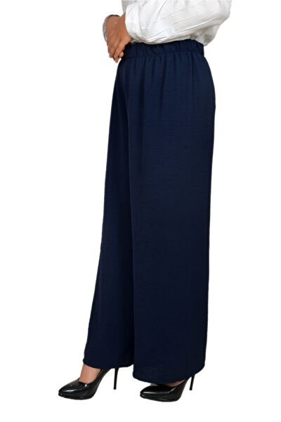 Kadın Lacivert Bol Paça Pantolon