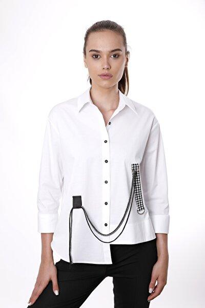Kadın Beyaz Etek Detaylı ve Kuşak Detaylı Gömlek