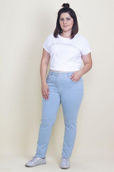 Kadın Mavi Likralı Kot 5 Cepli Pantolon 65N17688