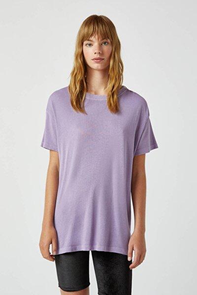 Kadın Koyu Mor Soluk Efektli Basic Oversize T-Shirt 05236365