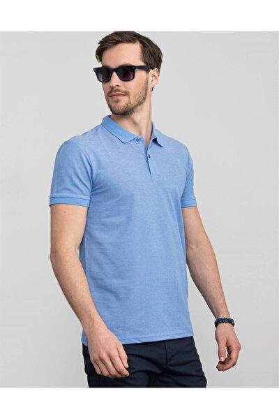 Erkek Turkuaz Polo Yaka Düz T-shirt