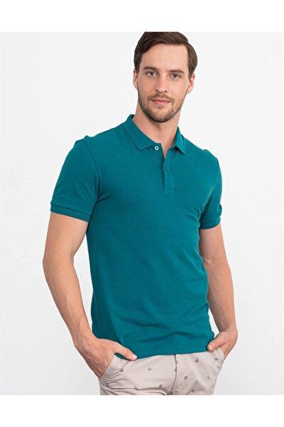 Erkek  Yeşil Slim Fit Polo Yaka Düz T-shirt