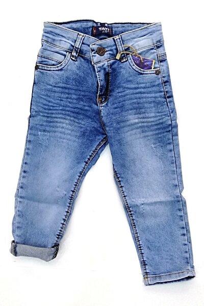 Kız Mavi  Likralı Kırınkıl Kot Pantolon